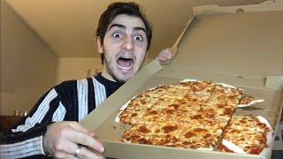 EATING A WHOLE BOX OF PIZZA | MUKBANG | EATING SHOW | HAJI DRAWS