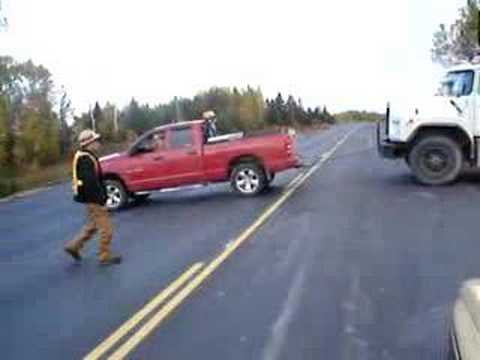 Dodge Ram 1500 4x4 Pulling our a Tryaxel out of a ditch.