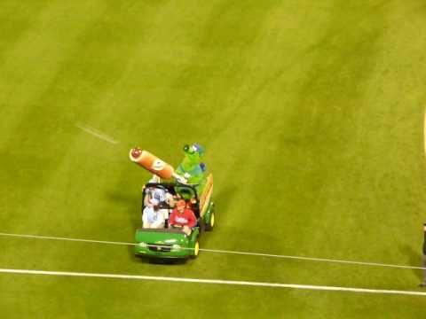Phillie Phanatic Shooting Hot Dogs Citizens Bank Park