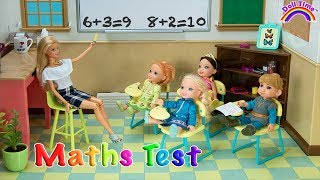 MATH Test ! Elsa and Anna toddlers at School Who's cheating ? Barbie is Teacher -classroom-science