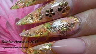 Fire Opal Nails ----------------Simulated Japanese  Fire Opal on Nails