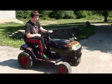 Running and Driving Hot Rod Lawn Tractor - 18 HP Craftsman LT1000