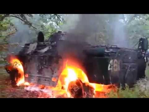 Луганск Горит боевая машина 30.05.14