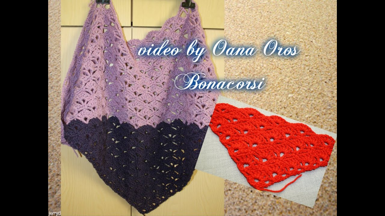 Crochet Youtube : crochet triangular shawl with shell stitch - YouTube