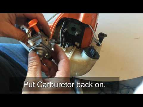 How to clean. adjust. and fix common carburetor problems on a  Stihl FS90 trimmer weedeater