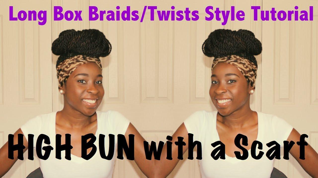 Box Braid Styles with Scarf