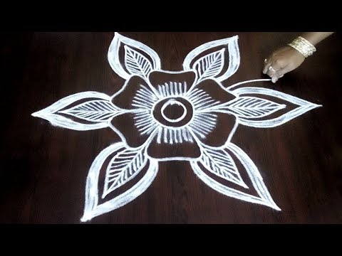 Beautiful Easy  Freehand Rangoli With Flower And Leaves ||  Creative Freehand Design|| Fashion World