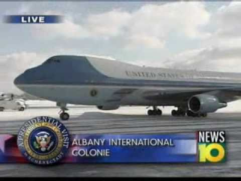 Air Force One taxis at Albany International Airport; elected officials exit plane (01/21/11)