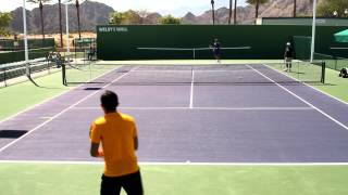 Nicolas Almagro Practicing Groundstrokes 2012 BNP Paribas Open Indian Wells