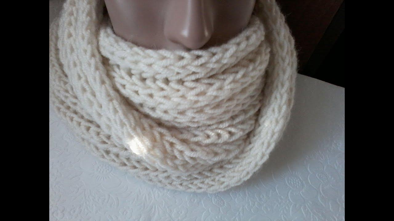 Вязание шарфа снуд спицами резинкой