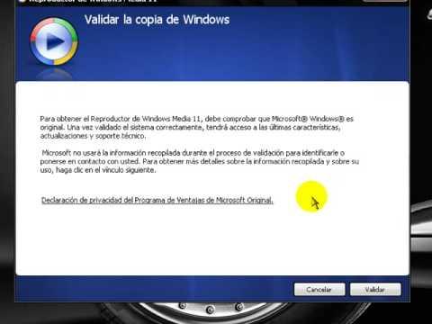 instalar windows media player 11 sin validar windows