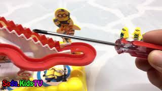 Play with funny minion running up and down the stairs