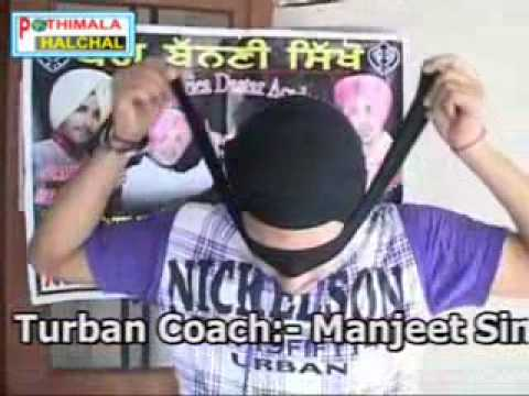 Turban Coach Manjeet Singh Ferozpuria tying turban with closed...