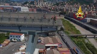 Aerials Of Firefighters Securing Genoa Bridge