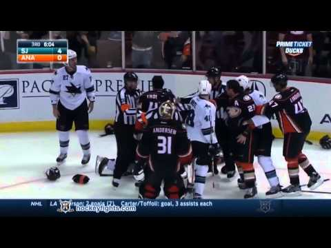 Fights San Jose Sharks vs Anaheim Ducks Brawl Oct 26, 2014 HD