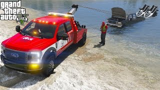 GTA 5 Real Life Mod #166 2020 Ford F-350 Tow Truck Towing A Pickup & Jet Ski Trailer Stuck In Water
