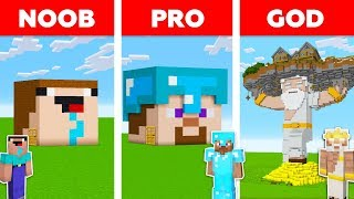 Minecraft Battle: NOOB vs PRO vs GOD: HEAD BLOCK HOUSE in MINECRAFT / Animation