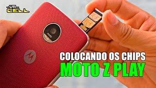 Como colocar os chips e cartão de memoria no Moto Z Play