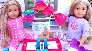 JoJo Siwa Bow Maker! 🎀American Girl Baby Dolls Play with Hair Style Toys!