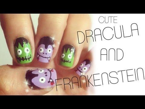 Cute Dracula & Frankenstein Nails ♥ Halloween Nail Tutorial