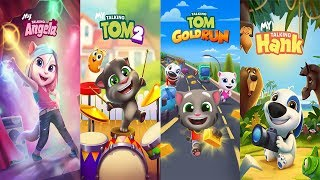 My Talking Tom 2 vs Talking Tom Gold Run vs My Talking Angela vs My Talking Hank Gameplay