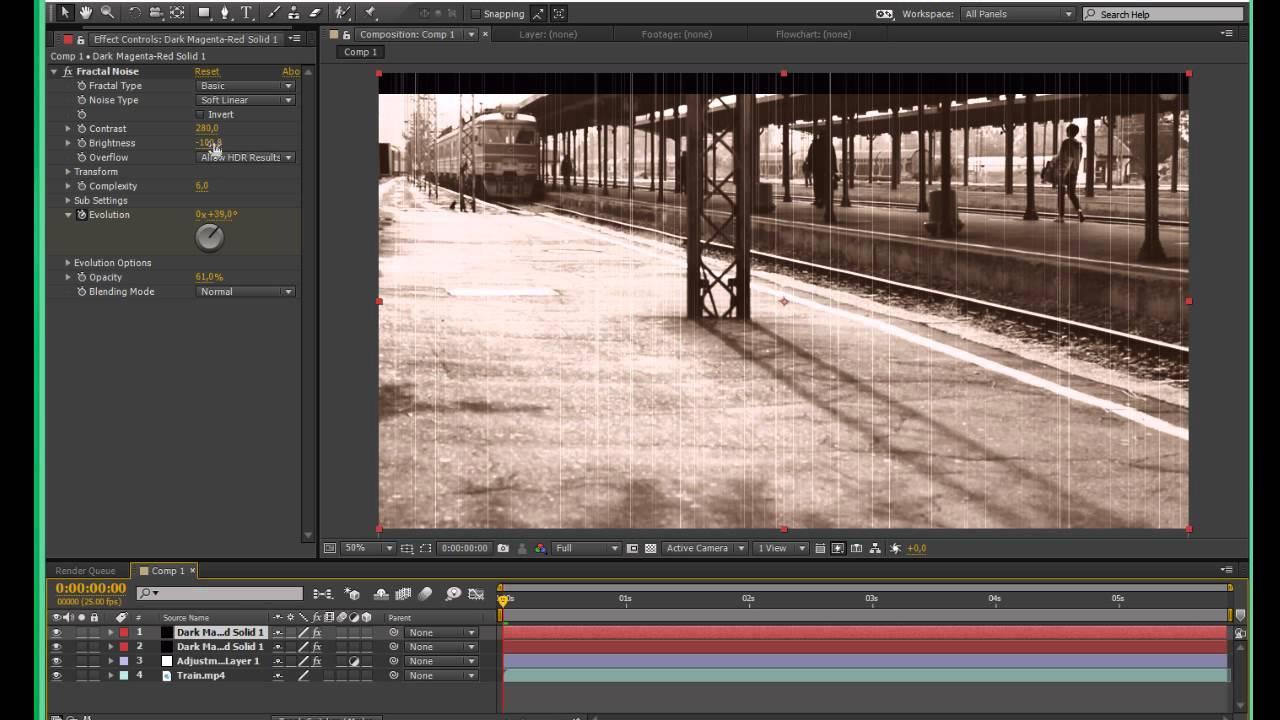 Стилизация видео в After Effects под черно-белое кино. Царапины и пятна с помощью Fractal Noise. - YouTube