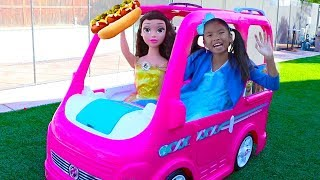 Wendy & Belle Pretend Play w/ Barbie Power Wheels Camper Food Truck Ride-on Toy