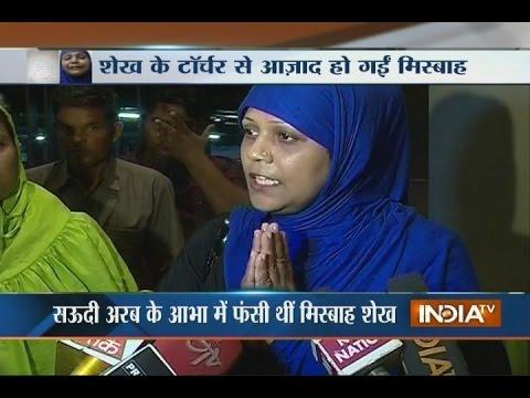 Woman struck in Saudi Arabia returns back to India, thanks Modi govt for help