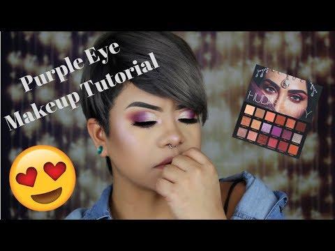 Purple Eye Makeup Tutorial using the Huda Beauty Desert Dusk Palette!