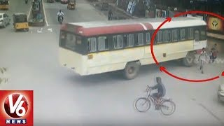 Caught On Camera - Mother And Son Crushed By RTC Bus In Warangal Urban District  - netivaarthalu.com