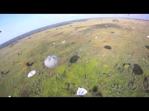 POV Footage of UK Soldier With Parachute Regiment Jumping Into Ukraine During Airborne Operation