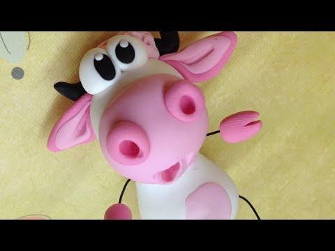 Polymer clay/Fimo Tutorial- pink cow/vaquinha rosa