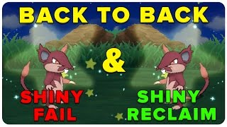 CRAZY BACK TO BACK SHINY FAIL AND RECLAIM! SUN AND MOON BACK TO BACK SOS SHINY RATTATA!