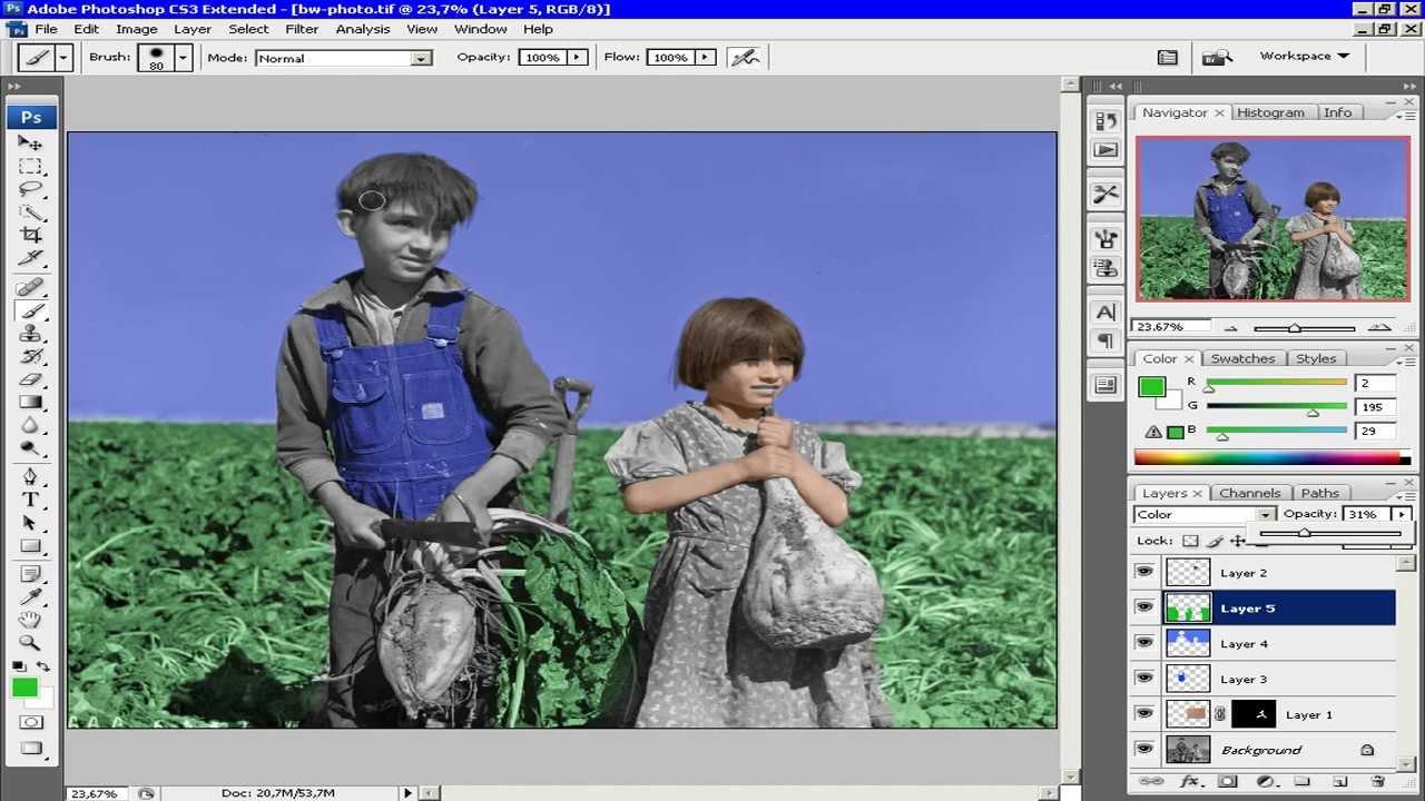 Как раскрасить черно белую фотографию в фотошопе cs3