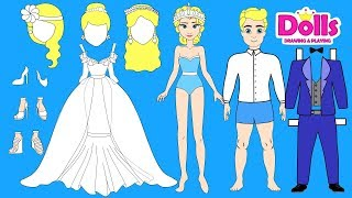 PAPER DOLLS WEDDING DRESS FOR ELSA PAPERCRAFT HANDMADE DOLLS BRIDE & GROOM