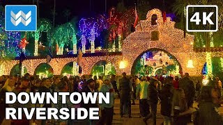 Mission Inn Festival of Lights in Downtown Riverside, CA | Night Walking Tour 【4K】