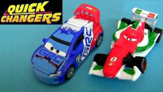 Quick Changers CARS 2 Raoul Caroule vs Francesco Bernoulli Changer crash damage toys Blucollection