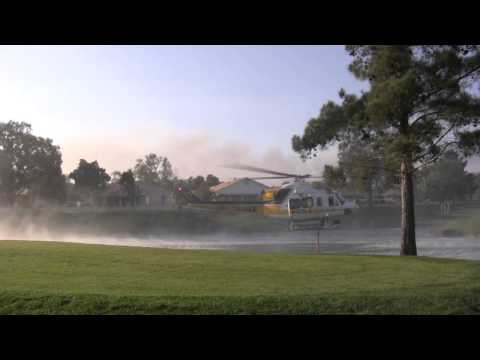 LA Country Fire Helicopter refills water tank - Banning Fire  2013, May 1st