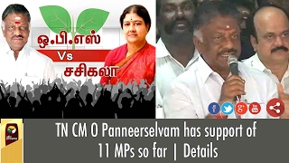 TN CM O Panneerselvam has support of 11 MPs so far | Details