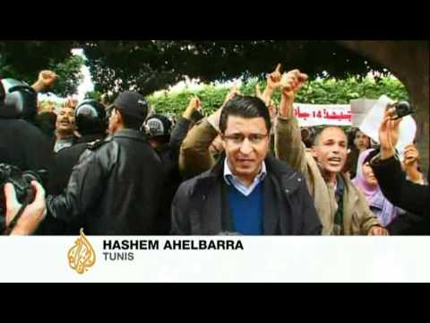 Tunisia police joint anti-government protests