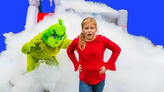 The Grinch Takes the Assistant Toys with a Foam Bounce House and Paw patrol and PJ Masks