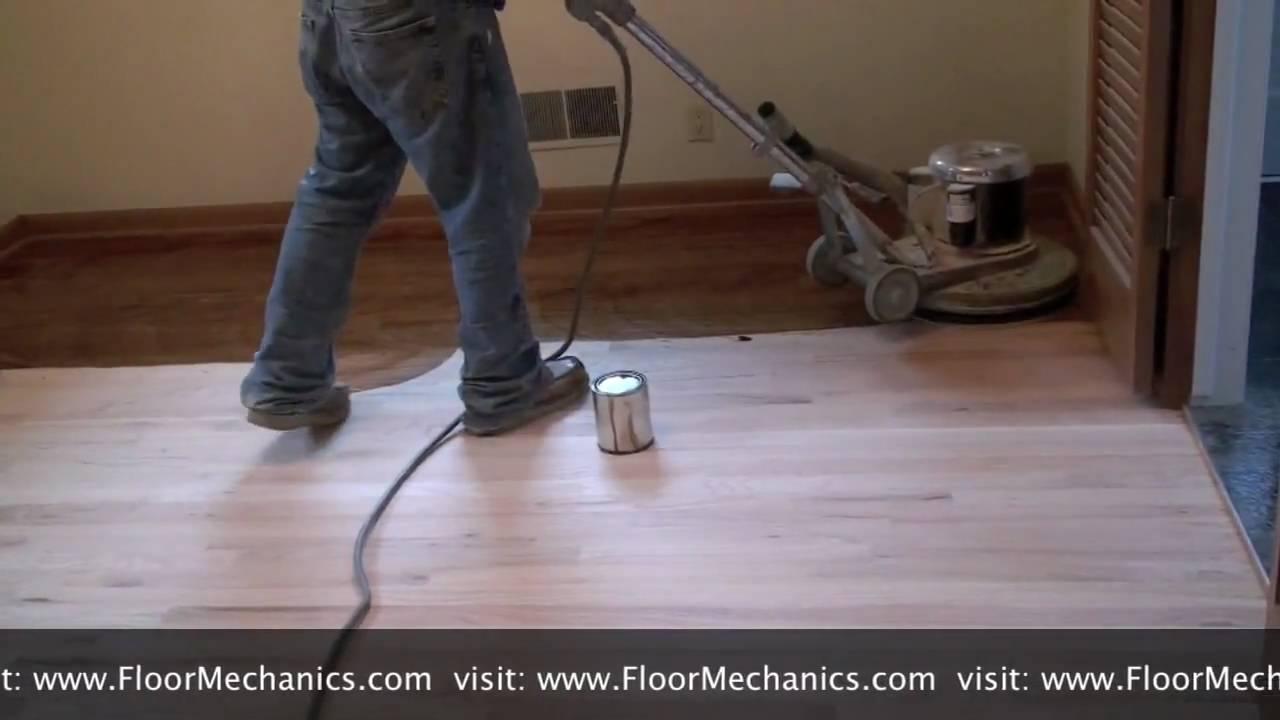 Refinishing Hardwood Floors Applying Stain With Buffer
