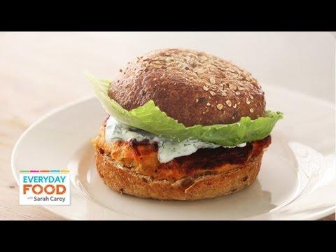 Salmon Burger with Yogurt-Dill Sauce - Everyday Food with Sarah Carey ...