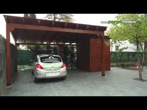Garajes de madera pergomadera 2012 youtube for Cubiertas para garajes