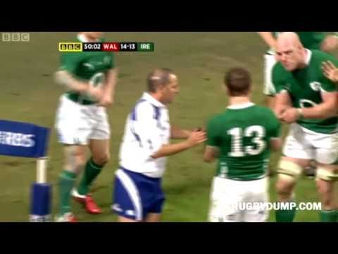 Wales illegal try vs Ireland - Mike Phillips try for Wales from quick throw-in vs Ireland