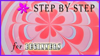Easy flower water marble step by step tutorial for beginners