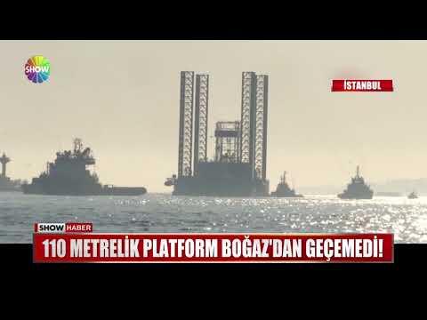 110 metrelik platform Boğaz'dan geçemedi!
