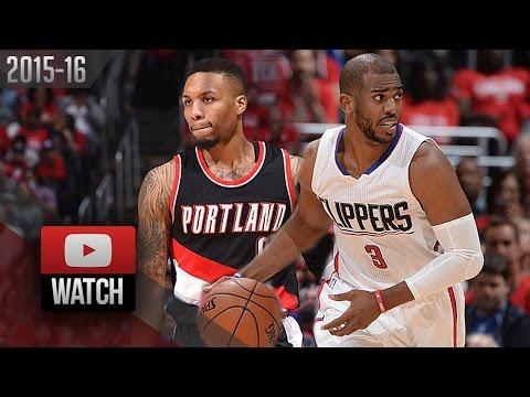 Chris Paul vs Damian Lillard PG Duel Highlights 2016 Playoffs R1G1 Clippers vs Blazers - SICK!