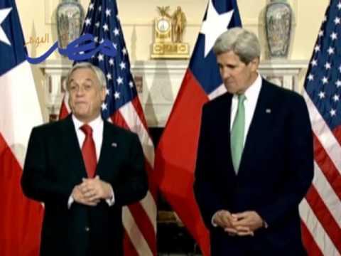 Secretary Kerry Camera Spray with Chilean President Pinera