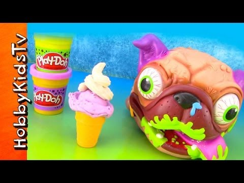 PLAY-DOH Uggly Dog Eats Sweet Shoppe Ice Cream. Whipped Cream. Cone. Popsicle